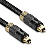 FosPower (50 Feet) 24K Gold Plated Toslink Digital Optical Audio Cable (S/PDIF) - [Zero RFI & EMI Interference] Metal Connectors & Ultra Durable Nylon Braided Jacket (Color: 50 Feet / 15.2 Meters (CL3 Rated), Tamaño: 50 feet)