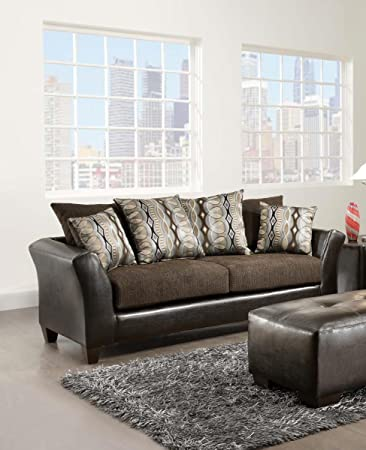 Chelsea Home Furniture Eta Sofa, Jefferson Chocolate/Rip Sable