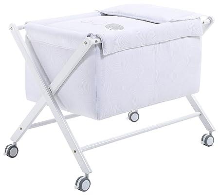 Alondra 670-06723-Minicuna per bambino in completa, con vestidura, colore: Bianco