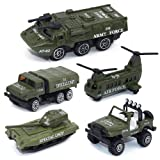 Army Vehicle Toy Set Diecast Military Model Cars Metal Army Playset Helicopter Tank Truck Jeep Armored Car for Kids - 5 pieces (Color: 5 Pcs, Tamaño: Small)