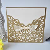 50PCS Pear Paper Laser Cut Bronzing Wedding Baby Shower Invitation Cards with Butterfly Hollow Favors Invitation Cardstock for Engagement Birthday Graduation (OMK-Square Gold) (Color: OMK-Square Gold)