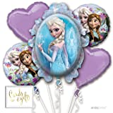 Andaz Press Balloon Bouquet Party Kit with Gold Cards & Gifts Sign, Disney Frozen Elsa Foil Mylar Balloon Decorations, 1-Set (Color: Frozen)