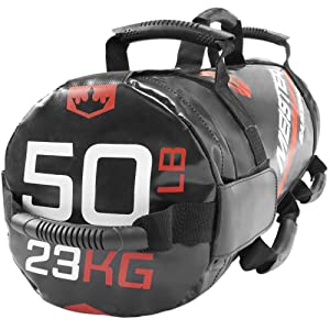 Meister 50lb Elite Fitness Sandbag Package w/ 3 Removable Kettlebells - Black (Color: Black, Tamaño: 50 Pounds (23kg))