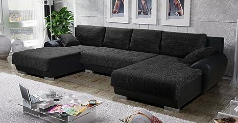 Canapé d'angle en U convertible TEREN tissu noir design