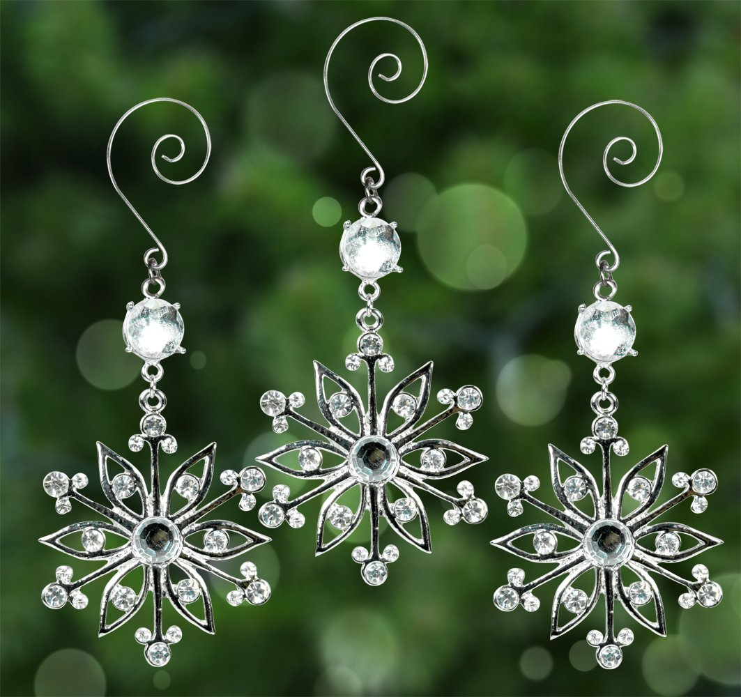 Snowflake Ornaments - Set of 3 Sparkling Crystal and Filigree Snowflakes - Comes in a Beautiful Silver Gift Box