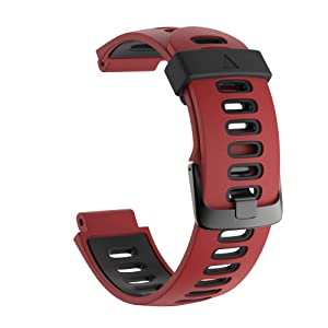 ANCOOL Compatible with Forerunner 735XT Band Replacement Soft Silicone Sport Strap for Garmin Forerunner 230/220/235/620/ 630/ 735XT -Red (Color: Red)
