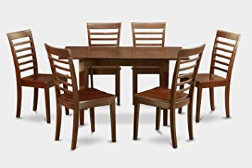 East West Furniture NOML7-MAH-W 7-Piece Dining Table Set