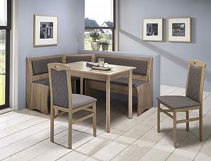 Eckbankgruppe Boston Sonoma 2x Stuhl Vierfußtisch Truheneckbank Eckbank Essgruppe Truhenbank Esszimmer