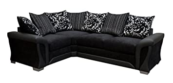 Sharon Fabric Corner Sofa Black Chenille Leather Left Hand Side Living Room Suite (Black)