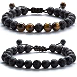 Hamoery Men Women 8mm Lava Rock Aromatherapy Anxiety Essential Oil Diffuser Bracelet Adjustable Natural Stone Yoga Beads Bracelet Bangle(Set 2) (Color: A-Set 2-21017)