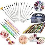 JOYJULY Nail Art Kit includes 30 Striping tape & 4Pcs Striping Roller Box & 12 Colors Rhinestones & 5pcs Dotting Pen & 15pcs Brush Set