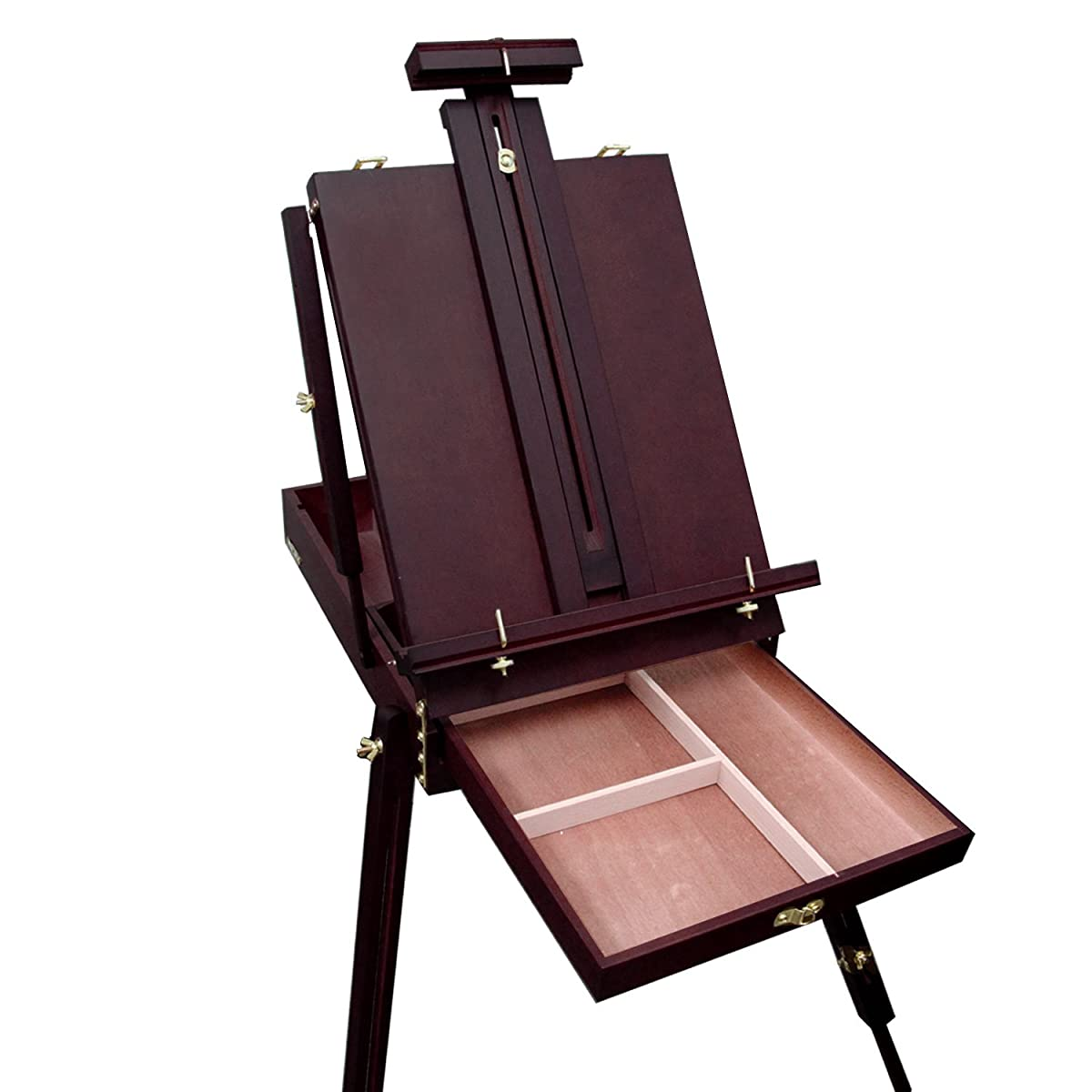"US Art Supply Black Cherry Coronado French Style Easel & Sketchbox with 12"" Drawer, Wooden Pallete & Shoulder Strap"
