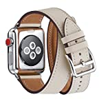 WFEAGL Compatible iWatch Band 38mm 40mm 42mm 44mm, Top Grain Leather Double Tour Band for iWatch Series 4,Series 3,Series 2,Series 1,Sport, Edition (IvoryWhite+Silver, 38mm 40mm) (Color: Ivory White Band+Silver Adapter, Tamaño: 38mm 40mm)