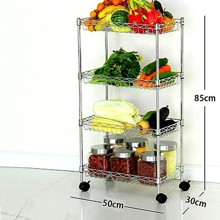Cocina de acero inoxidable estante cuatro capas aterrizaje puede Move estante vegetal ollas de almacenamiento Rack, #4