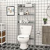 UTEX 3-Shelf Bathroom Organizer over the Toilet, Bathroom Spacesaver (Gray) (Color: Gray)