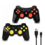 2 Pack PS3 Controller Wireless, Dual Vibration Sixaxis Game Remote control Customized Gamepad for Sony PlayStation 3 PS3, Charge Cable Included (Red/Yellow) (Color: Red/Yellow)