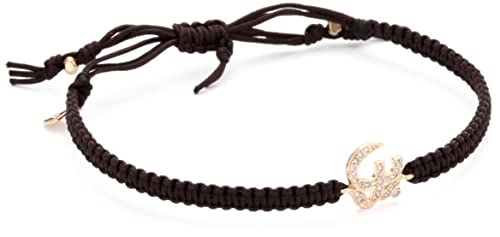 Tai Rose Gold Swarovski Crystal Aum Symbol on Cotton Cord Bracelet
