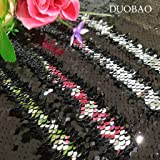 DUOBAO Sequin Fabric by The Yard Black to Silver Emboridery Flip Up Sequin Fabric 5 Yards Mermaid Reversible Sequin Fabric Material for Sewing (Color: Reversible Black to Silver, Tamaño: 5 Yards)