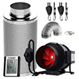 VIVOSUN 6 Inch 390 CFM Inline Fan with Speed Controller, 6 Inch Carbon Filter and 8 Feet of Ducting, Temperature Humidity Monitor for Grow Tent Ventilation (Tamaño: 6 Inch Combo)