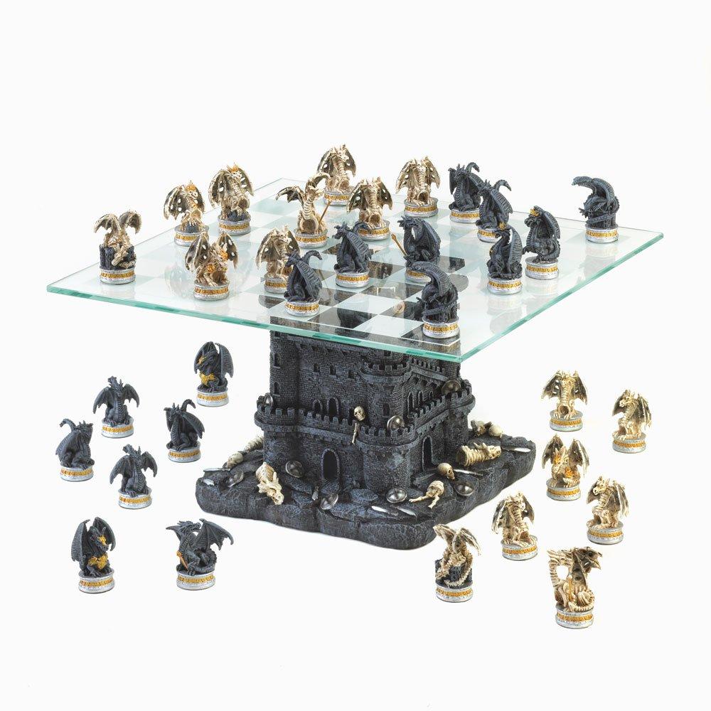 Black Tower Dragon Chess Set