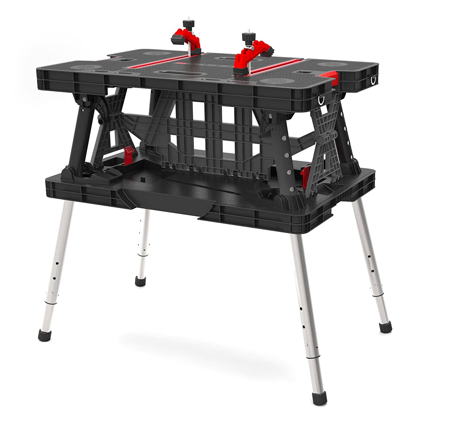 Keter 217679 adjustable leg folding work table new free for Stand pliant