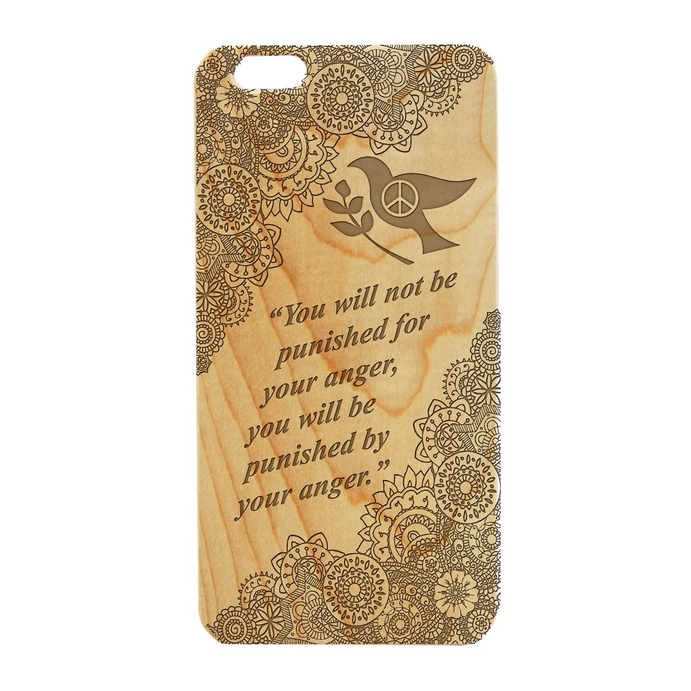 Wood Engraved, Phone Case Dove Peace Buddha Quote for iPhone 5/5s (Maple)