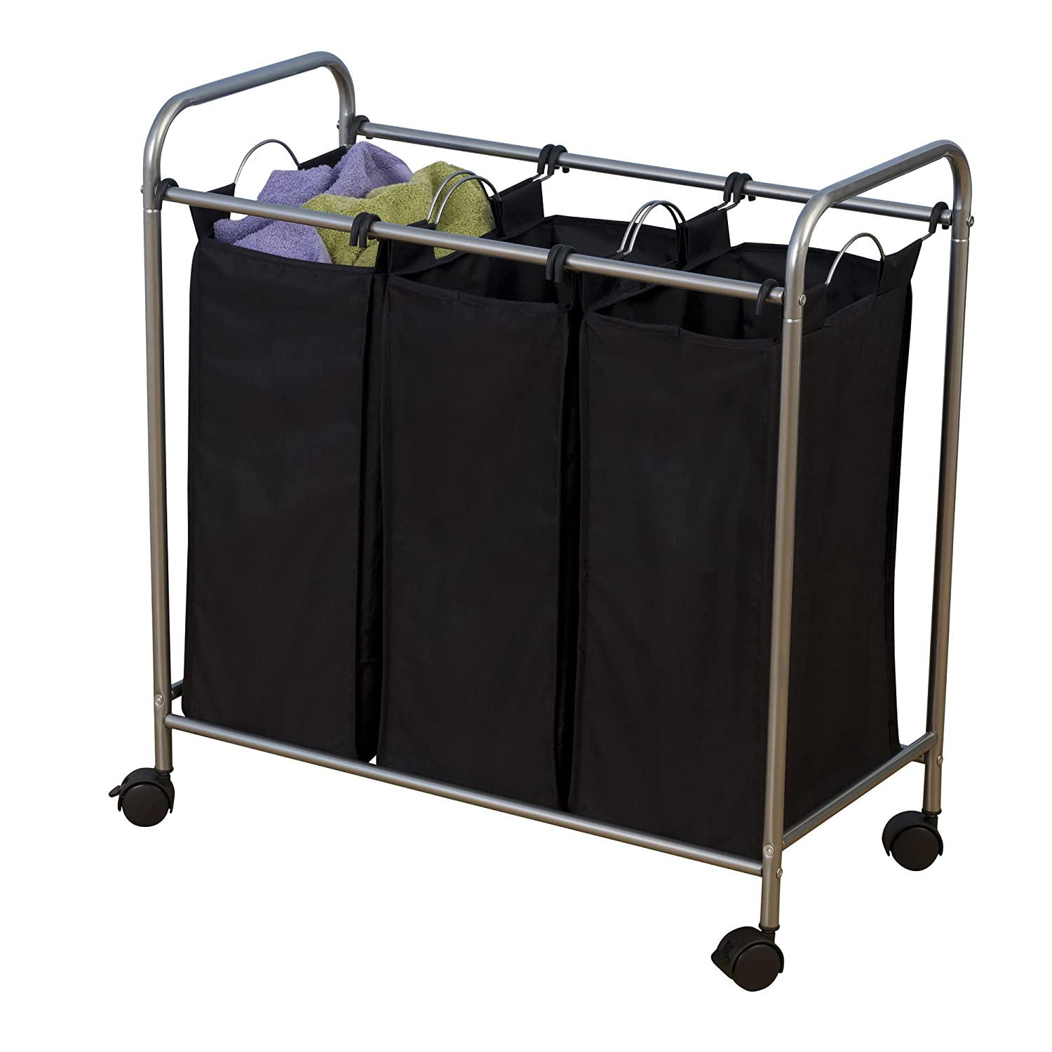 Household Essentials Rolling Triple Sorter Laundry Hamper ...
