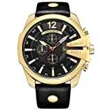 Curren Men Watches Top Brand Luxury Gold Male Fashion Leather Strap Outdoor Casual Sport Wristwatch With Big Dial (gold black)