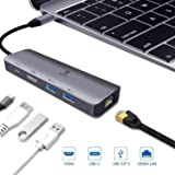 USB-C Multi-Port Adapter for Apple MacBook Pro 13/15 2019,2018,2017,2016(Thunderbolt 3), iPad Pro 2018,MacBook Air 2018 Dongle,USB C Hub,HDMI 4K,Gigabit Ethernet,2 USB 3.0,Type-C PD Charging Dock (Color: 5-IN-1 HDMI USB C HUB Space Grey, Tamaño: 5-IN-1 HDMI USB C HUB Space Grey)