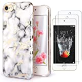 IDWELL iPod Touch 7 Touch 6 Touch 5 Case with 2 Screen Protectors, Clear Slim Soft TPU Black Bumper Case for iPod Touch 5/6/7th Generation Hard Cover (HD Clear-Black) (Color: Marble White)