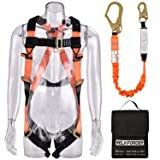 WELKFORDER 1 D-Ring Industrial Fall Protection Safety Harness Kit with Single Leg 6-Foot Shock Absorber Stretch Lanyard ANSI Complaint Personal Fall Arrest System(PFAS) (Color: Orange/Black)