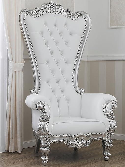 Poltrona trono stile Barocco Moderno foglia argento ecopelle bianca bottoni Swarovski