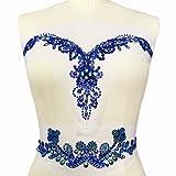 Handmade Beaded V-Neck Sequin AB Color Bling Sew On Neckline Rhinestone Crystal Trim Bridal Applique Design Patch Sewing for Wedding Dresses DIY Decoration 7.8x13.4 Inch (Deep Blue) (Color: Blue)