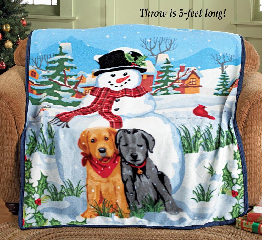 Winter Snowman And Dog Fleece Throw