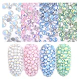 ULGAI Opal Rhinestones for Nail Art Decoration 4 Pack, Flatback Glass Crystal Rhinestones, Opal Gems Stones with 4 Colors for Nails Face Clothes Jewelry DIY Crafts