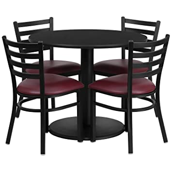 Flash Furniture Round Black Laminate Table Set with 4 Ladder Back Metal Chairs and Burgundy Vinyl Seat, 36""