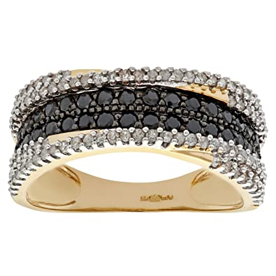Naava 9ct Yellow Gold Black Diamond Multi Row Eternity Ring