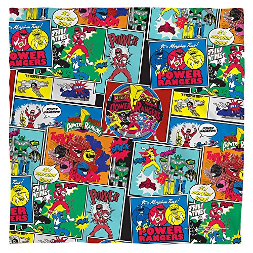 POWER RANGERS/PATTERN - POLY 22X22 BANDANA - White - ONE SIZE by Trevco (Power Rangers Flag compare prices)