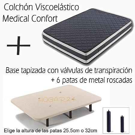 BASE TAPIZADA CON VÁLVULAS DE TRANSPIRACIÓN Y 6 PATAS DE METAL ROSCADAS DE 32CM + COLCHÓN VISCOELÁSTICO DOBLE CARA MEDICAL CONFORT-105x190cm