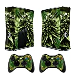 Skin for Xbox 360 Slim Sticker Decals for X360 Custom Cover Skins for Xbox360 Slim Modded Console Game Accessories Set Decal Stickers with 2 Wireless Remote Controllers - Skunk Bud