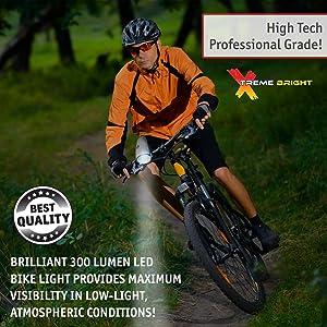 Luz LED Xtreme Bright Bike aero espacial, color plata, incluye una luz trasera