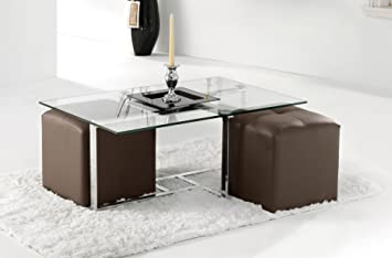 Adec - Mesa de centro verona cristal, medidas 64 x 98 x 36 cm, color acero