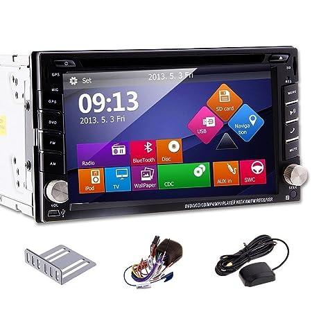RDS Coche Navegaciš®n 6.2 pulgadas en el tablero con pantalla tactil de coches Dos DIN coche Lecteur DVD con GPS, Bluetooth, carte SD FM / AM tarjeta, MP3, šŠcran Motores FM Subwoofer tactile numšŠrique VEHICULO Auto