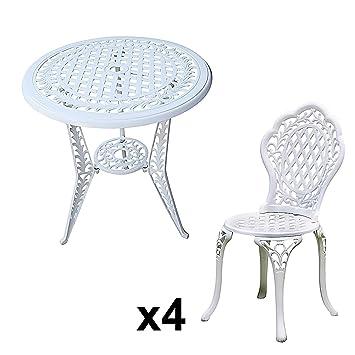 Lazy Susan - IVY Bistrotisch mit 4 IVY Bistrostuhlen - Rundes Bistroset, Gartenmöbel aus Metall - Weiß