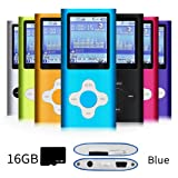 G.G.Martinsen Blue Stylish MP3/MP4 Player with a 16GB Micro SD card, Support Photo Viewer, Recorder & Radio, Mini USB Port 1.8 LCD, Digital Music Player, Media/Video Player, MP3 Player, MP4 Player (Color: Blue1)