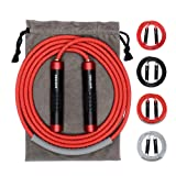 Blue CaseHQ Jump Ropes Ball Bearing Heavy Duty High Performance Professional Ball Bearing Weighted Speed 105 inch Cable,Jumping Rope with Adjustable Comfortable Handles,Fit Men Women and Children