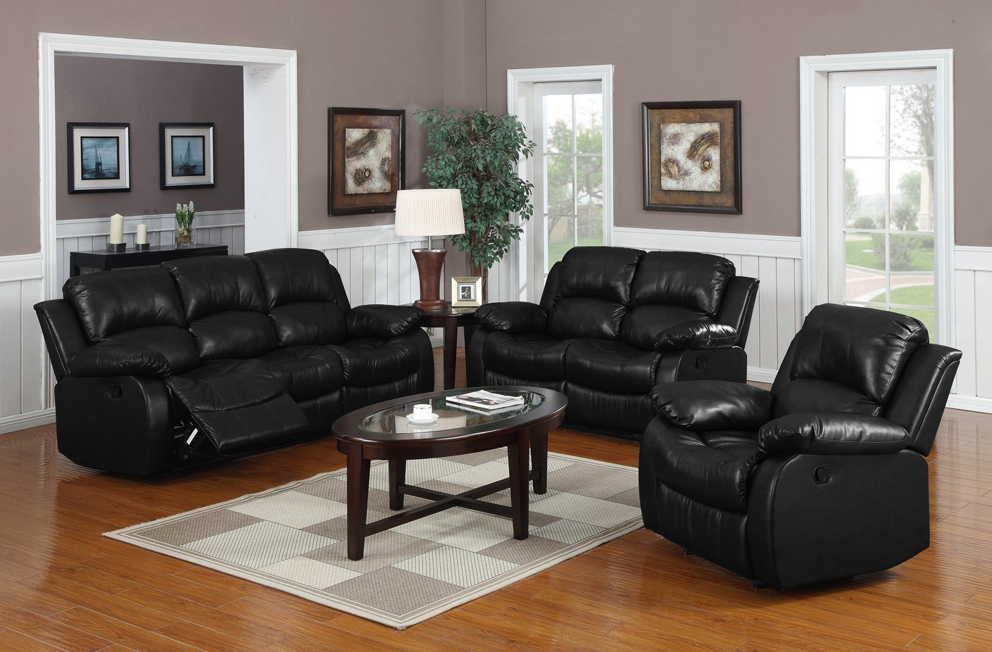 Classic and Traditional Black Real Grain Leather Recliner set - Sofa Double Recliner - Loveseat Recliner - Single
