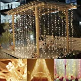 slashome Curtain Lights, Window Curtain Icicle Lights, 29V, 306 LED with 8 Lighting Modes, String Fairy String Light, Warm White 9.8 x 9.8 feet, UL Listed (Color: 306led Warm, Tamaño: 9.8ft x 9.8ft (306LED))