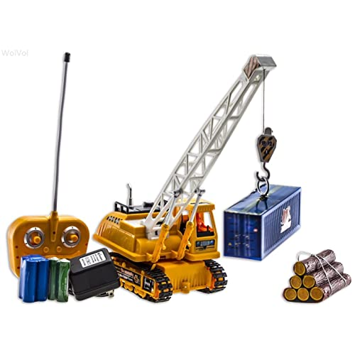 WolVol 6 Channel Electric Remote Control Crawler Crane Truck Toy for Boys Container & Logs Lift Up Activity (Comes with all the Batteries and battery Charger)