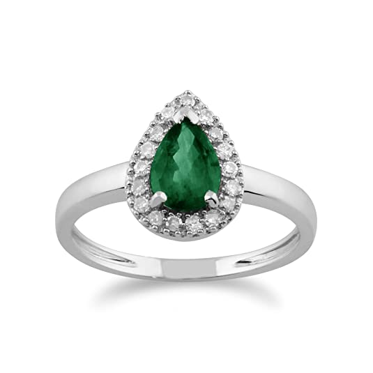 Gemondo Emerald Ring, 9ct White Gold 0.66ct Emerald & Diamond Pear Cluster Ring